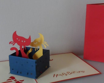 Happy Birthday Cats in a Box 3d Pop up Card (sku034)