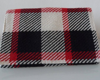 Black ,Cream and Red Check Tartan Design Clutch Bag -textile/evening/purse/wrist strap/present