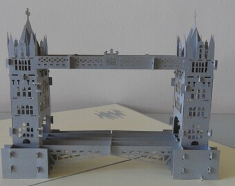 London Tower Bridge 3d Pop up Card - blank- birthday-retirement (sku 019)