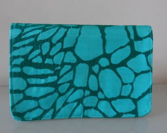 Turquoise Silk EmbroideredClutch  Bag -textile/evening/purse/wrist strap/present