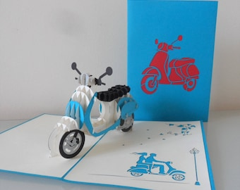 Vespa Scooter 3d Pop up Card blank- Birthday - retirement (sku148)