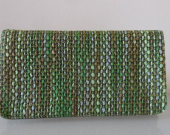 Green and Brown Tweed Clutch Bag -textile/purse/wrist strap/present