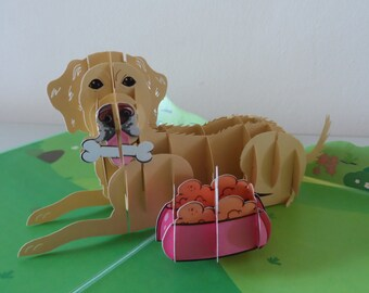 Golden Retriever Labrador Dog 3d - Pop up Card - Blank- New Pet - Birthday