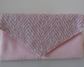 Pale Pink Tweed and Suede Clutch Bag -textile/suede/evening/wedding/purse/wrist strap/present