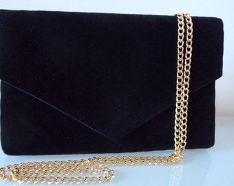 7c3f9cd45ea0 Black Velvet Quilted Clutch Bag with Chain  Strap-textile/velvet/evening/purse/shoulder strap/present
