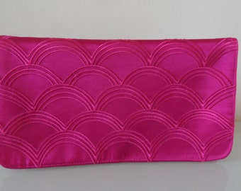 Pink Embroidered Clutch Evening Bag -textile/evening/purse/wrist strap/present