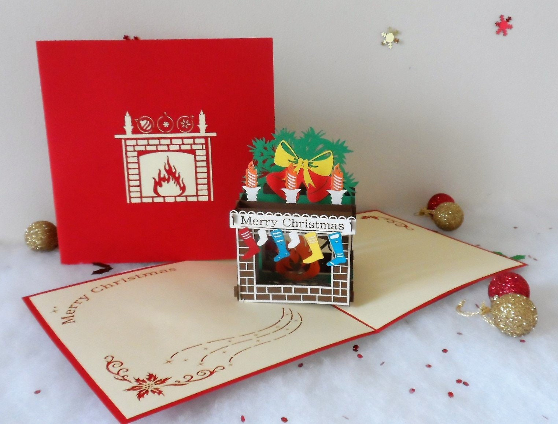 Christmas Fireplace with Stockings - 3d - Pop up Card (sku405)