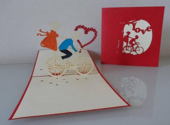 Love Boy sku028 Couple Pop up Card Girl Wedding Engagement 3D Heart Anniversary