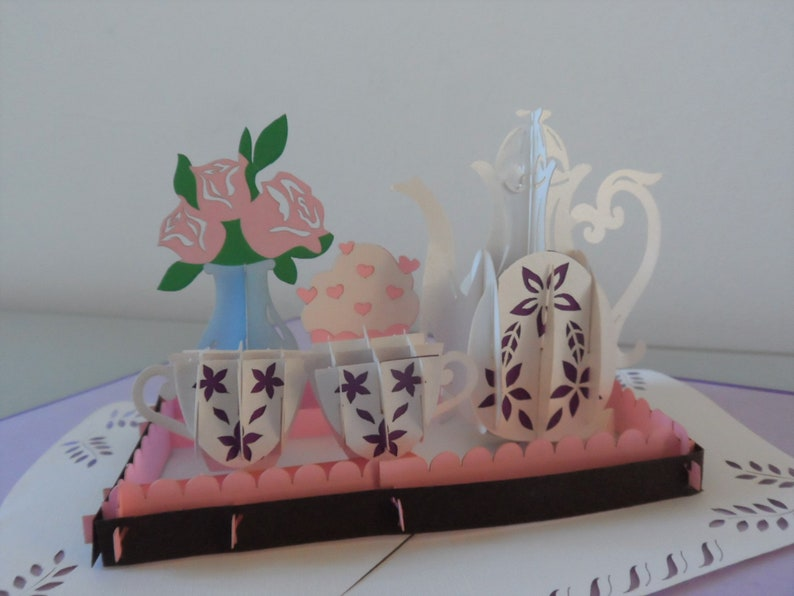 Afternoon Tea and Cake  3d  Pop up Card Mothers Day image 4