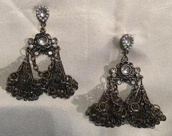 slender Selenite and copper Earrings 0.5 inches