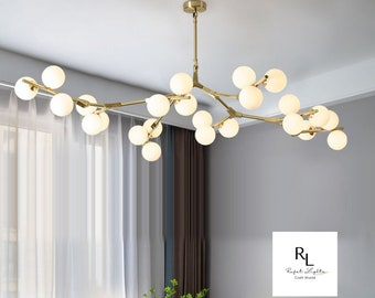 Creative Branch Arm Chandelier 12/18/24 Molecular Balls Light Fixtures Slanted Ceiling, Remodel For Living Room Office Bedroom Dining Room