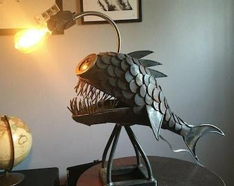 Angler Fish Lamp, USB Shark Night Light, Retro Art Office Desk Figure Lamp, Rustic Style Fish Statue Lightning, Best Home Decor Custom Art