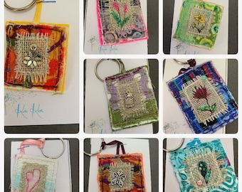 Textile Art Embroidered Flower Keyring -   Each one unique