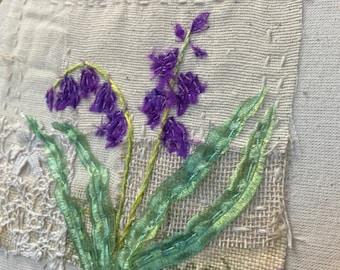 Slow Stitch Textile Art Hoop Kit - Bluebell