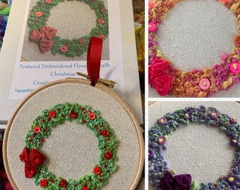 Creative Embroidery Kit - Textured Embroidered Flower Wreath - 3 colours available - Tutti Frutti, Purple or Christmas