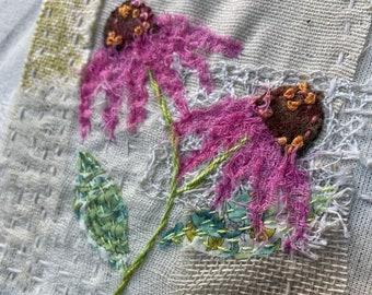 Slow Stitch Textile Art Hoop Kit - Echinacea