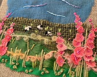 Mini Textile Landscape Hollyhocks  Kit