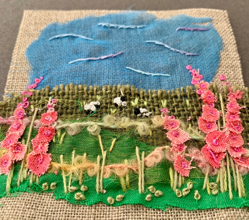 Mini Textile Landscape Hollyhocks  Kit image 5