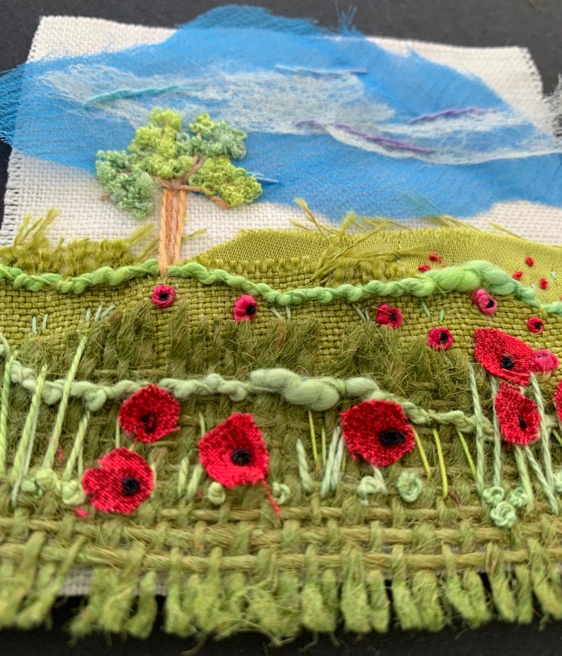 Mini Textile Landscape Poppy Meadow Kit image 0