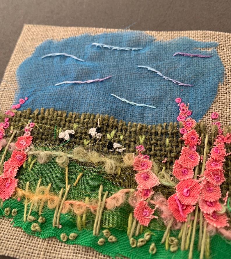 Mini Textile Landscape Hollyhocks  Kit image 1