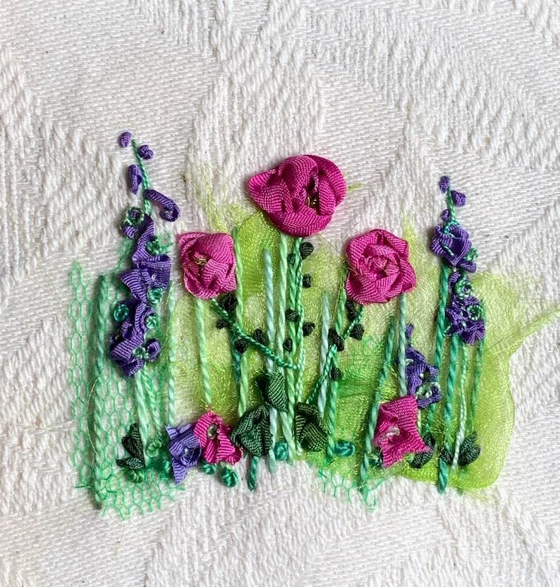 Roses & Larkspur Silk Ribbon Creative Embroidery Kit image 1