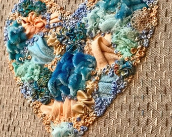 Manipulated Fabric Heart Creative Embroidery Kit - Yellow/Orange/Green Shades