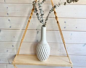 Tablette bois et macramé , tablette en bois et corde, tablette flottante, décoration murale, tablette bois et corde suspendue