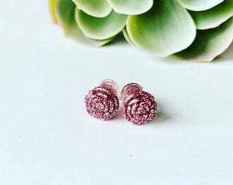 Plugs d'oreilles fleurs à paillettes, stretchs, écarteurs colorés en résine et brillants, ear plugs gauges forme de fleur, original