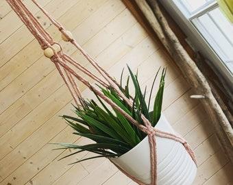 Jardinière en macramé format long corde très épaisse 4-5 mm Support à plante suspendu en macramé, jardinière longue en macramé moutarde