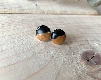 Imparfait Clous d'oreilles bois et résine, puce d'oreilles en bois et résine, clous d'oreilles Noirs boucles d'oreilles en bois, pins, puces