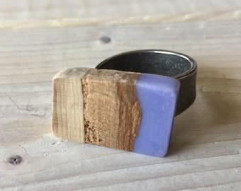 Bague ajustable bois et résine violet
