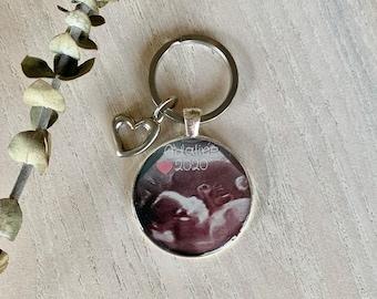 Porte-clés photo souvenir échographie, annonce grossesse, porte-clés photo bébé, photo échographie, photo famille