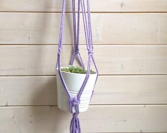 PRÊT À  PARTIR Longue Jardinière suspendue , corde epaisse de 4-5 mm choix de couleurs jardinière en macramé, suspension pour plante ,