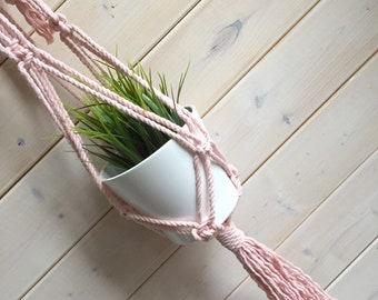 Jardinière en macramé rose blush jardinière en corde épaisse de 5 mm, macramé, jardinière blush , suspension pour plante