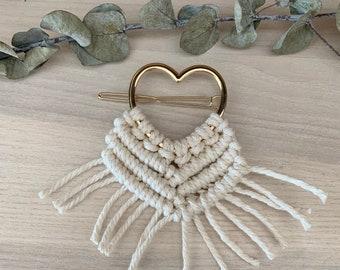Barette à cheveux macramé , accessoire cheveux, barette coeur doré, barette coeur or