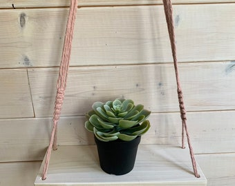 Tablette bois et macramé , tablette en bois et corde, tablette flottante, décoration murale, tablette bois blanchi et corde suspendue