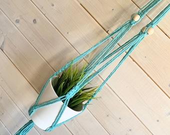 Longue Jardinière en macramé turquoise CHOIX DE 18 couleurs