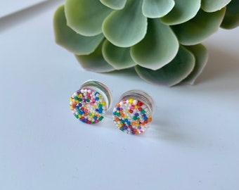 Plugs d'oreilles bonbons sprinkles, stretchs d'oreilles uniques, écarteurs colorés en résine et vrais bonbons, gauges d'oreilles, ear plugs