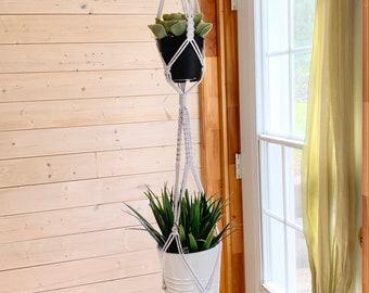 Jardinière double plante suspendue  en macramé plusieurs couleurs disponibles, jardinière en macramé