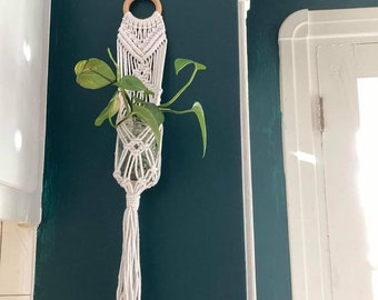 SUPPORT en macramé pour pot Masson, eucalyptus tenture murale, macramé pour plante décoration murale, décoration pour fleurs séchées