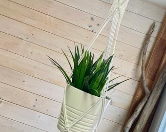 Jardinière macramé moyenne et délicate, corde de 3 mm, jardinière en macramé, suspension pour plante ,
