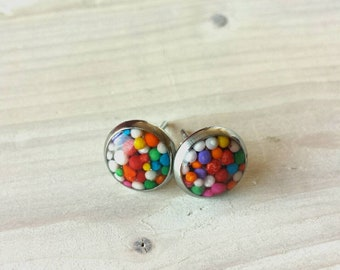 Clous d'oreilles bonbons et résine en acier inoxydable