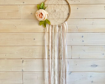 white dream catcher with a rose, wall hanging, wall decor