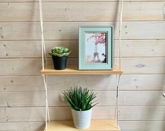 Tablette double en macramé et bois, tablette en bois 2 étages, tablette suspendue tablette bois et corde, tablette en bois flottante,