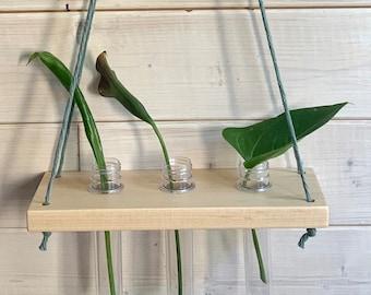 Tablette bois et tubes pour boutures,  tubes à essais pour boutures et macramé , tablette en bois et corde de macramé pour pousses de plante