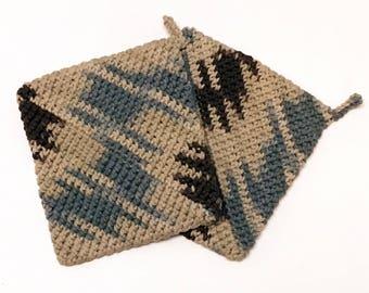 Brown Blue and Beige, Graphic, Crochet Pot Holder, Crochet Hot Pad, Set of 2, Handmade, Kitchen Accessories
