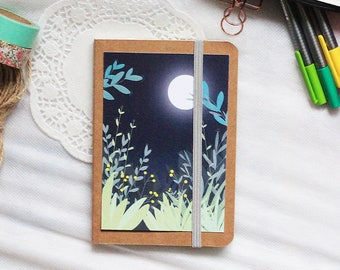 Lined notebook nature - notebook lined moon - vegetable notebook - notebook vegetation - notebook - notebook moon