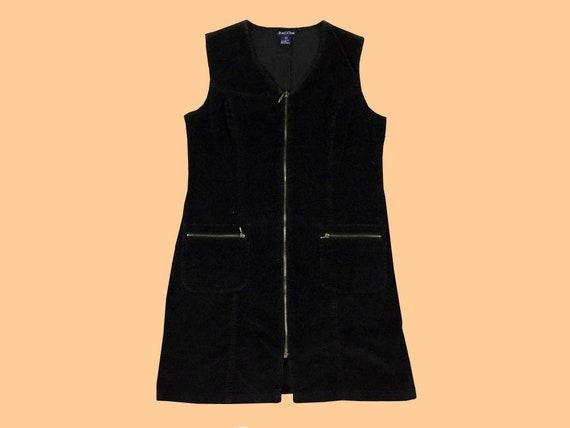 vintage / 90s CORDUROY DRESS / black / corduroy /