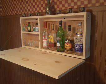 Murphy Bar Unfinsihed Man Cave Wall Mount Liquor Cabinet Fold Down Bar