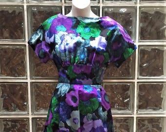 RARE Vintage Bud Kilpatrick for I. Magnin Silk Dress